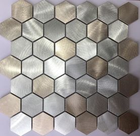 3D Gold Colorful Hexagon Metal Stainless Steel Mosaic Tile / Porcelain Mosaic Wall Tile