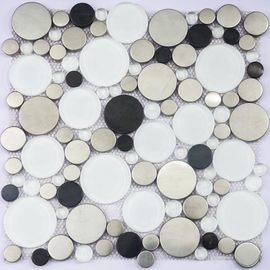 Durable Fish Scale Irregular Glass Mosaic Tile Mixed Color Skid Resistance