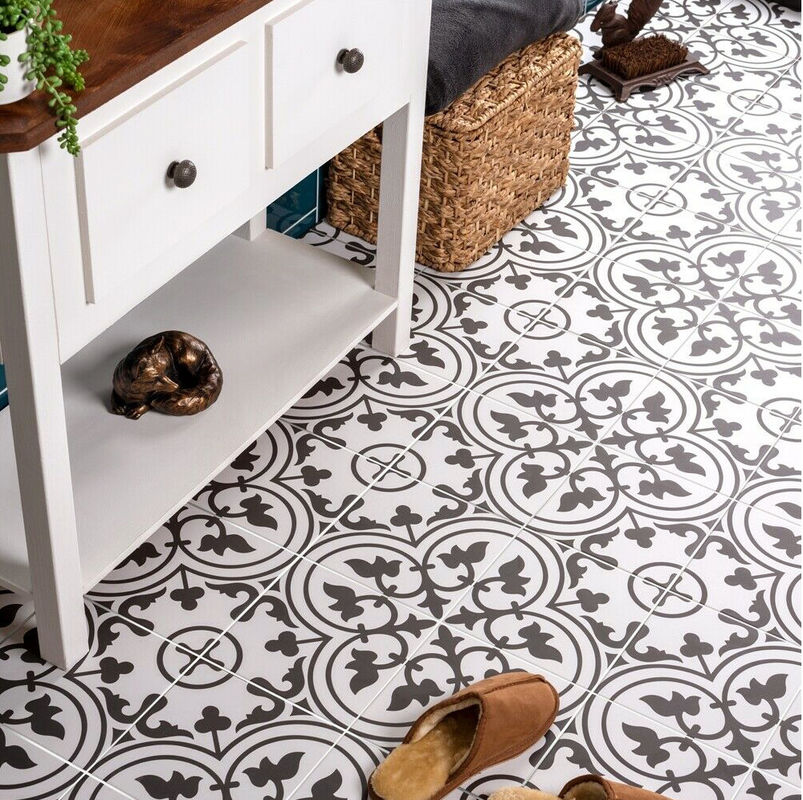 Bathroom 8.5mm Decorative Carpet Floor Tiles White And Black